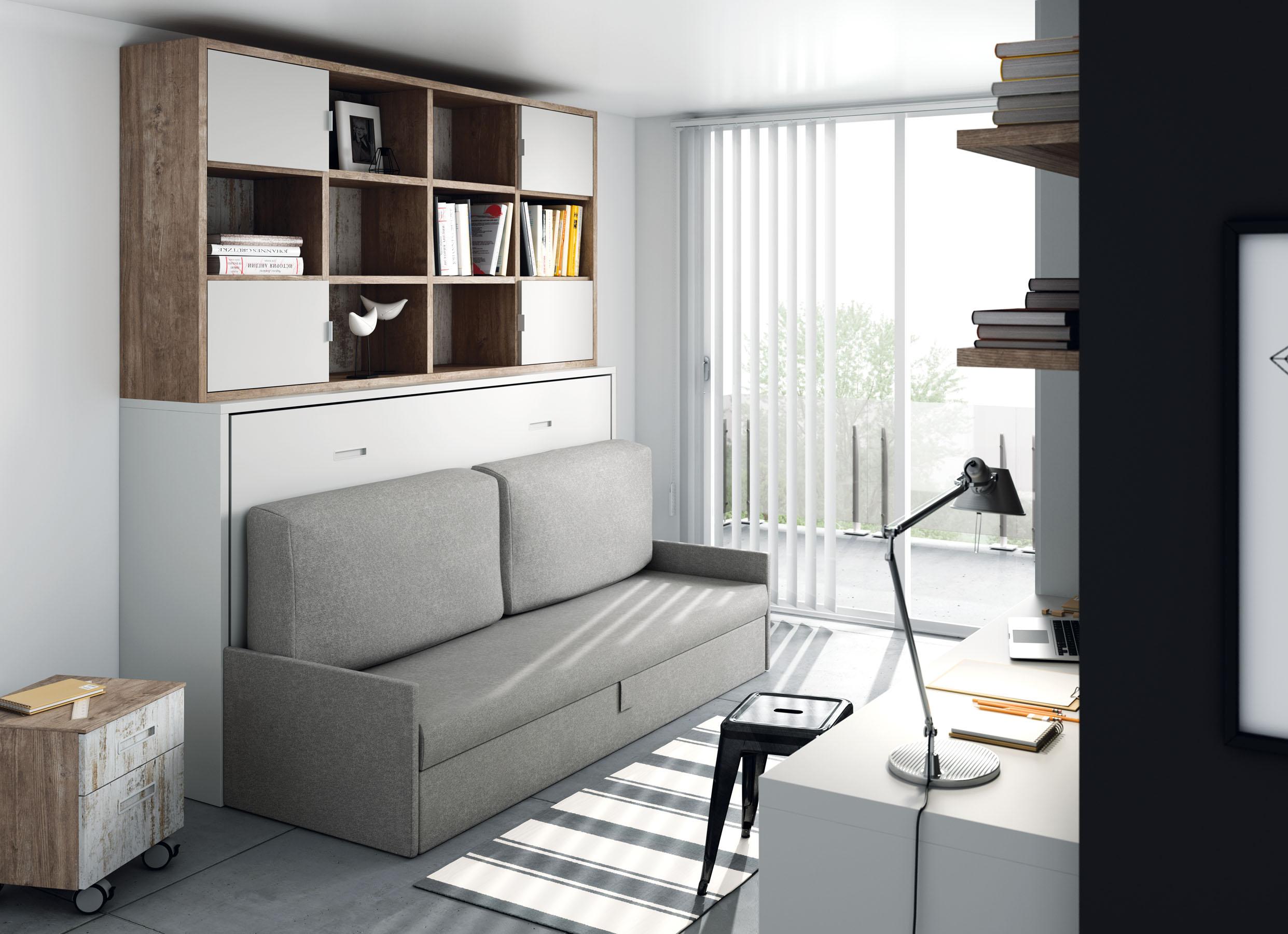 Camas abatibles horizontales con sofa camas abatibles for Sofas para habitaciones juveniles