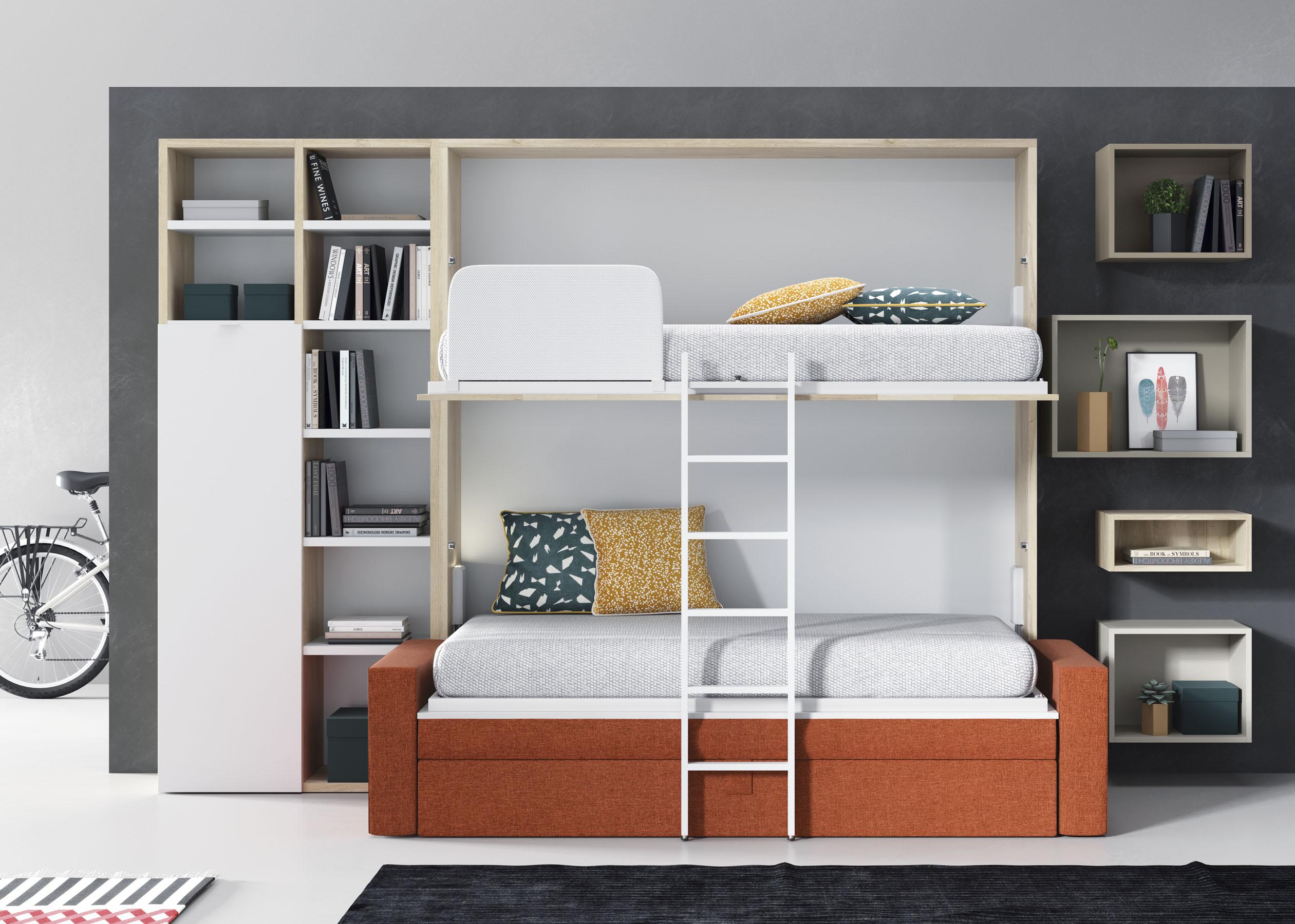 Cama tren pino macizo cama tren habitaci n juvenil for Despacho con sofa cama