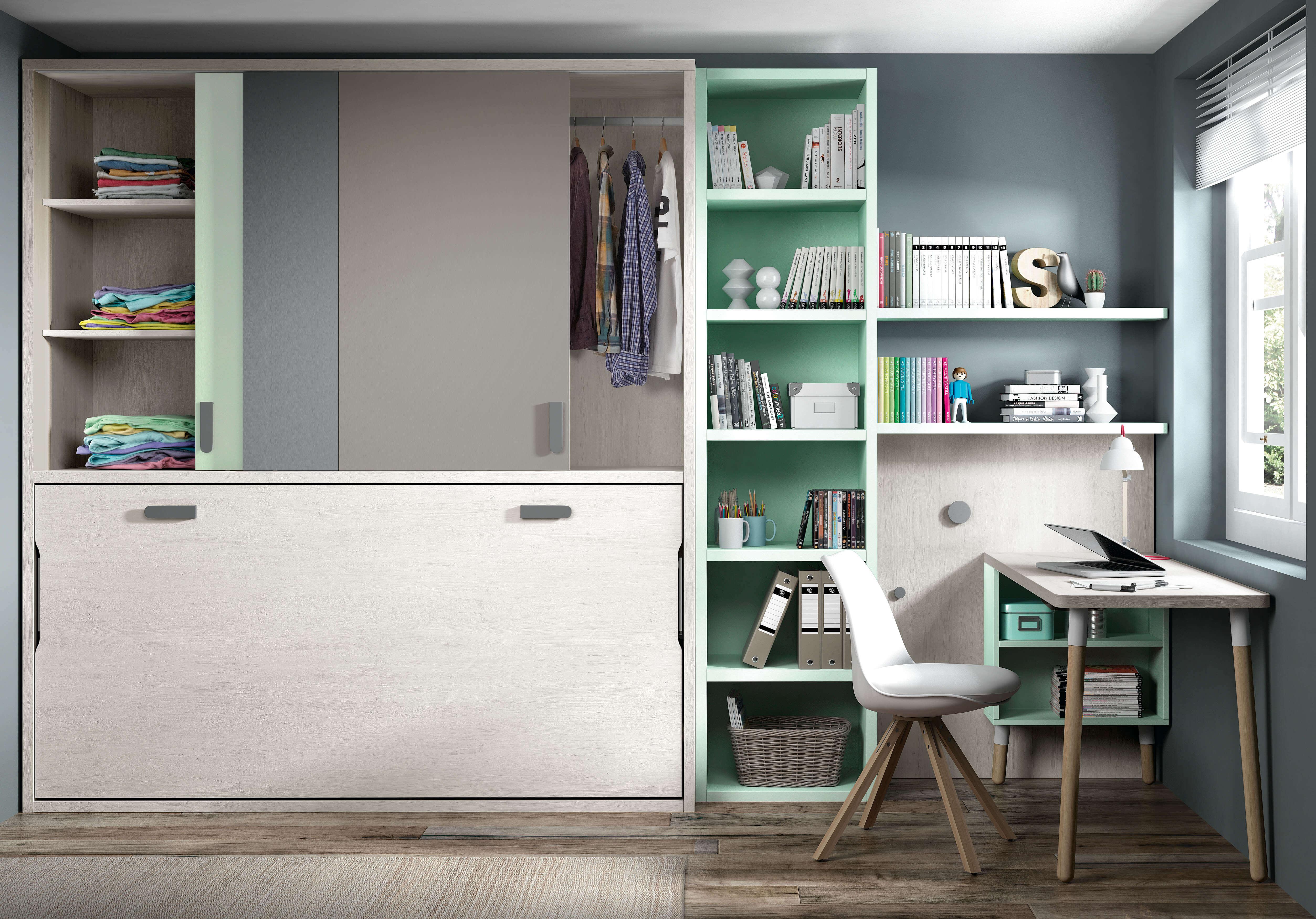 Habitaciones juveniles dormitorio juvenil camas abatible - Habitacion juvenil cama abatible ...