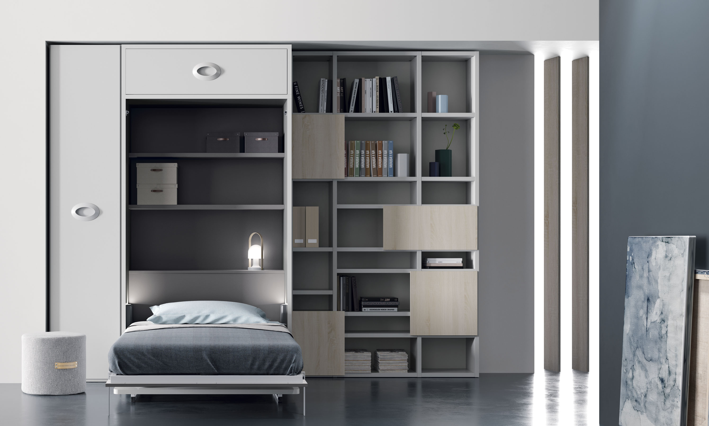 Cama abatible vertical con escritorio habitaciones for Cama juvenil con escritorio
