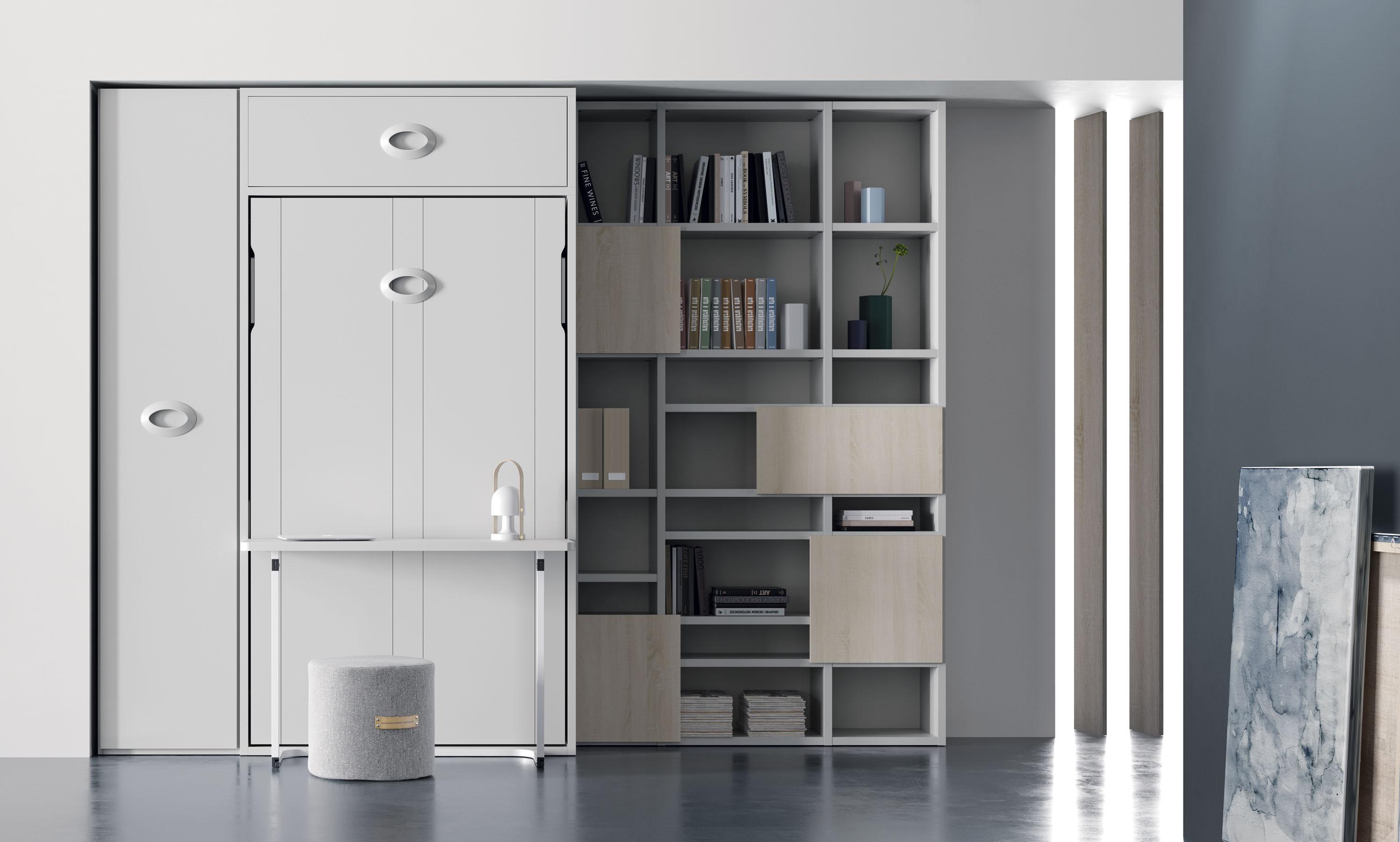 Cama abatible vertical con escritorio habitaciones for Cama abatible vertical