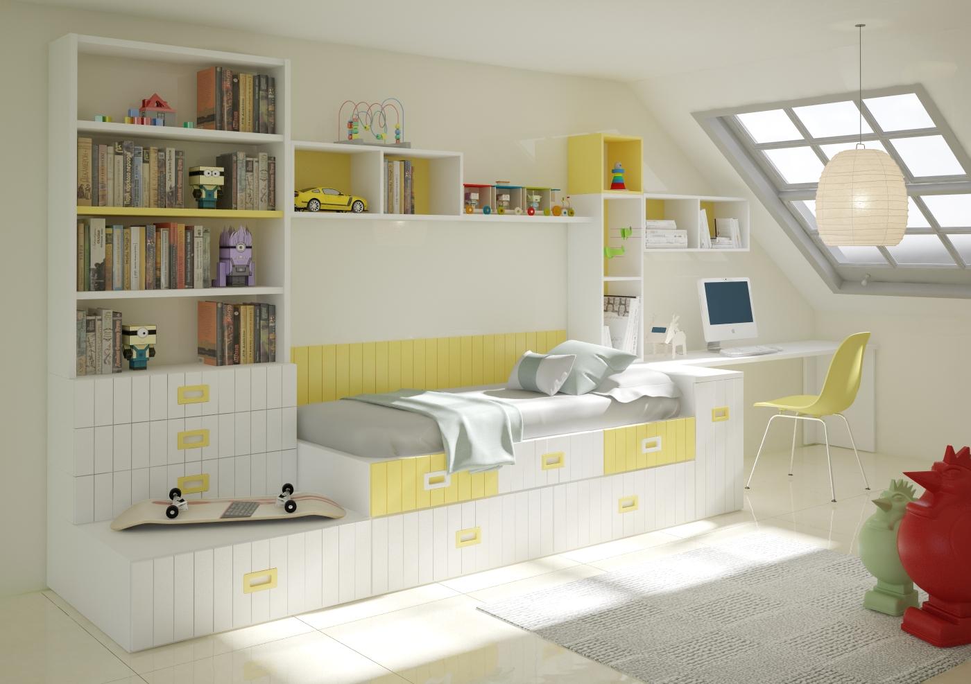 Cama compacta lacada dormitorios juveniles cama nido for Muebles infantiles modernos