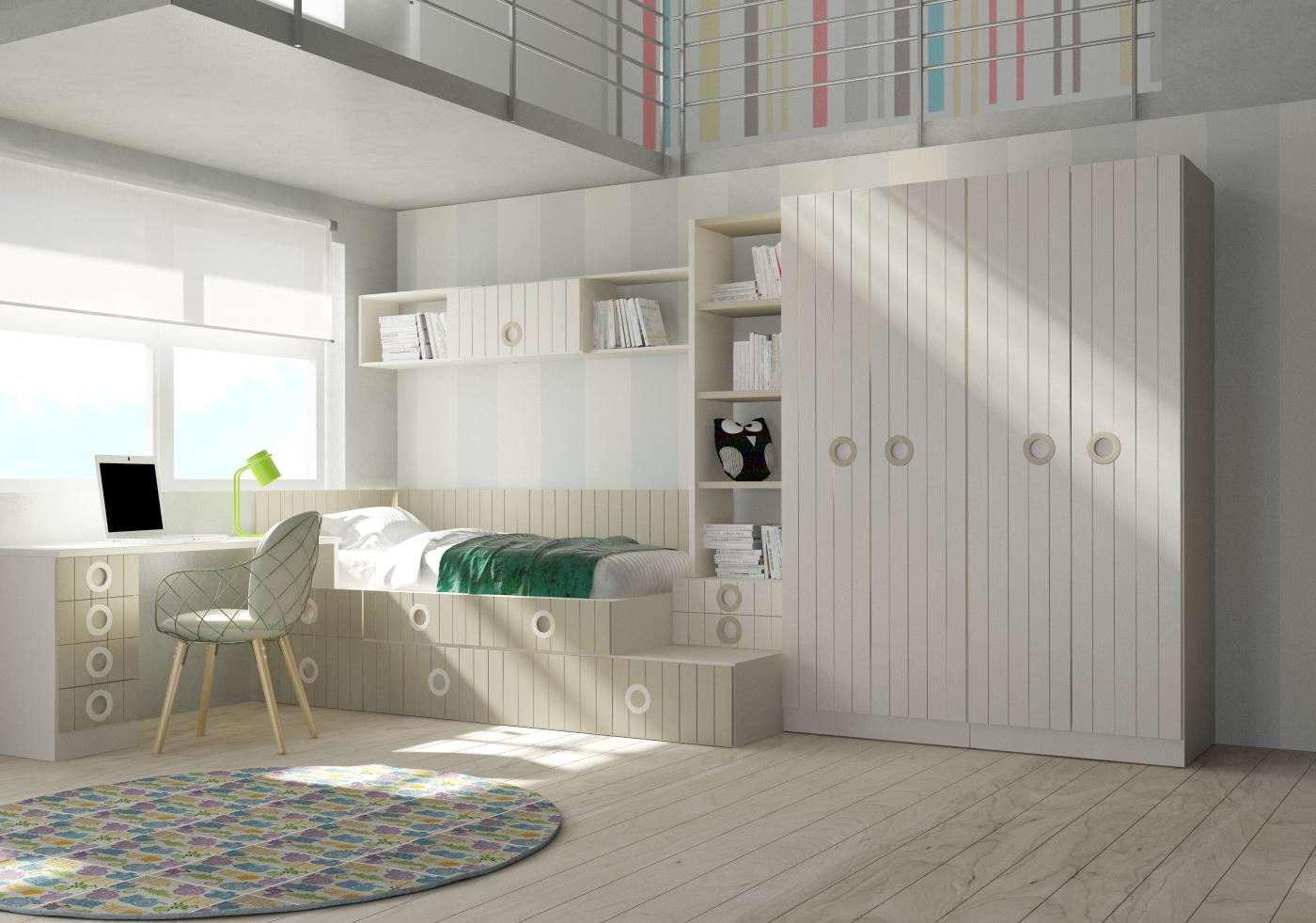 Cama compacta lacada dormitorios juveniles cama nido - Cama nido lacada ...