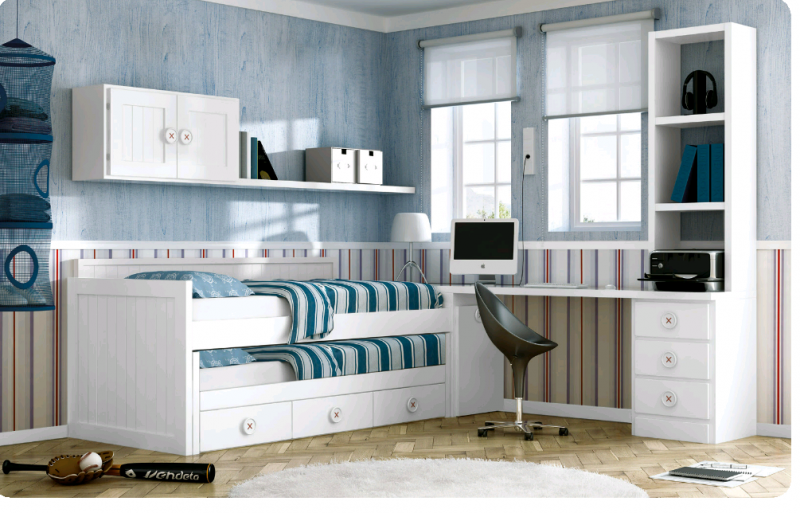 Cama compacta lacada dormitorios juveniles cama nido - Camas blancas juveniles ...