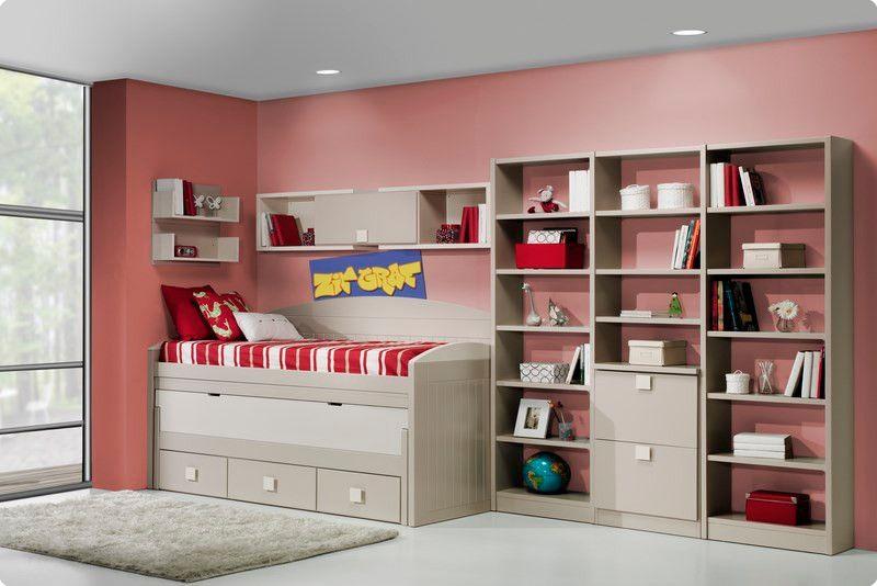 Cama compacta lacada dormitorios juveniles cama nido for Juvenil muebles