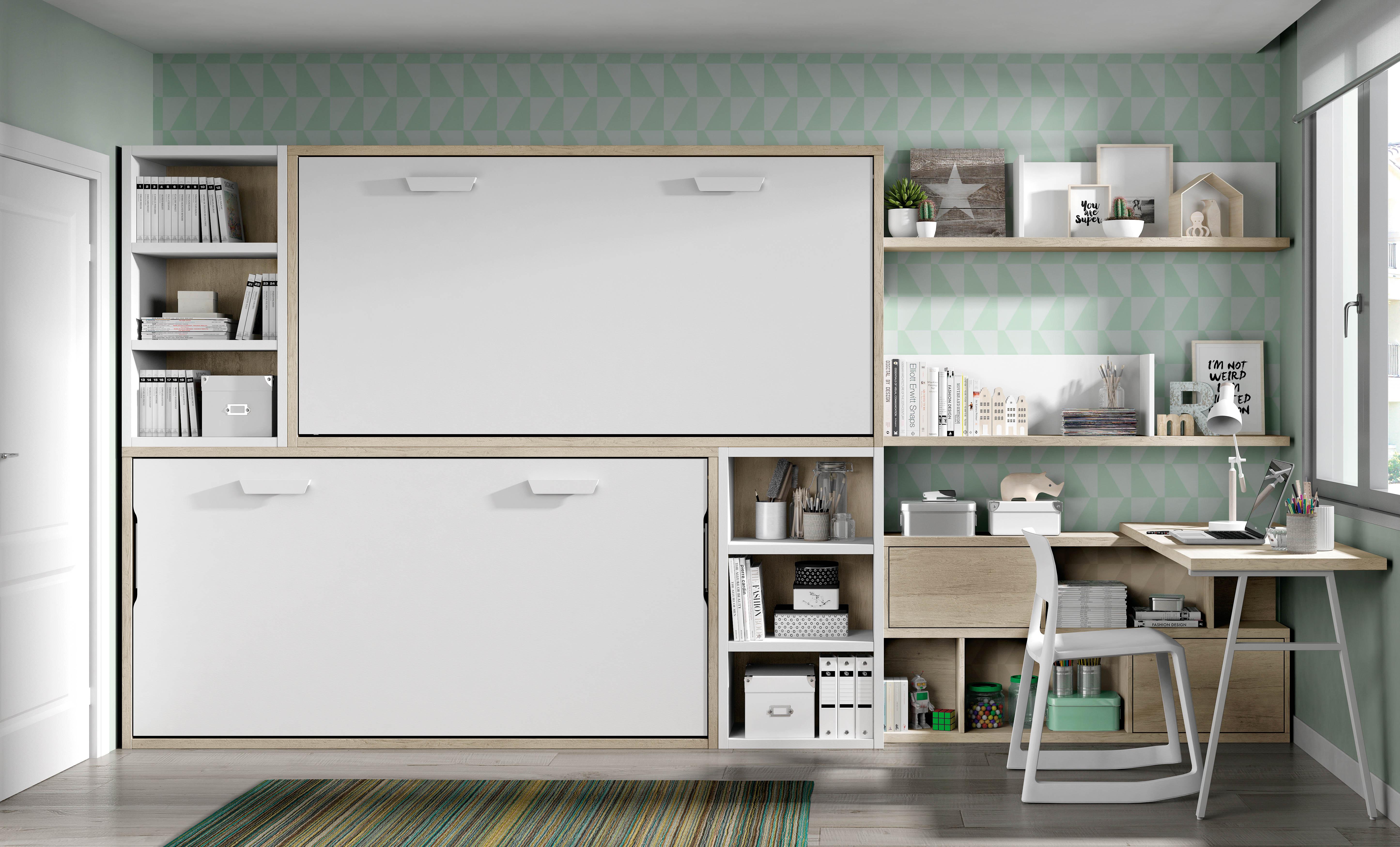 Camas abatibles horizontales cama plegable camas abatibles for Camas juveniles con escritorio incorporado