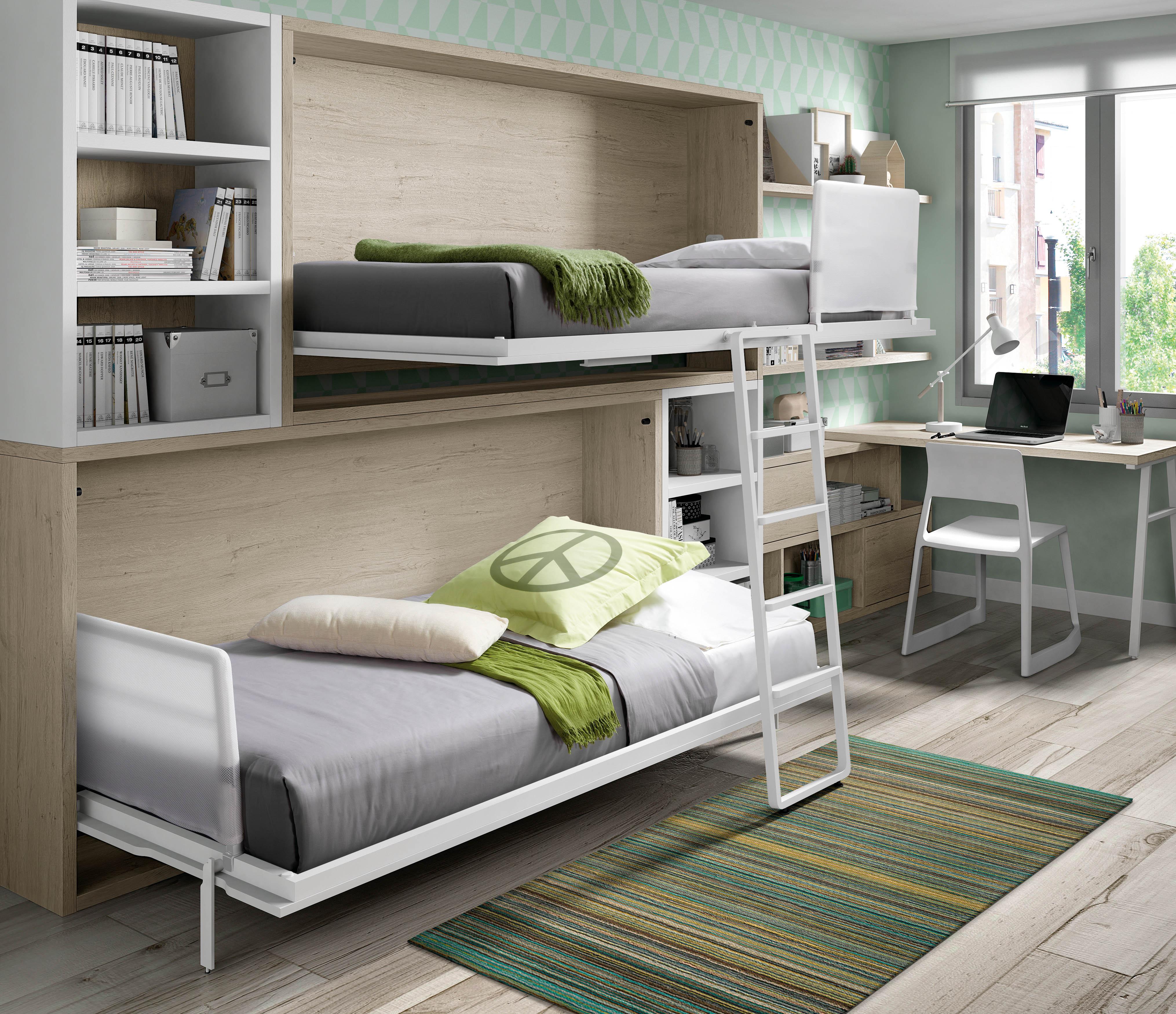 Literas abatibles mueble juvenil literas abatibles for Mueble juvenil cama abatible