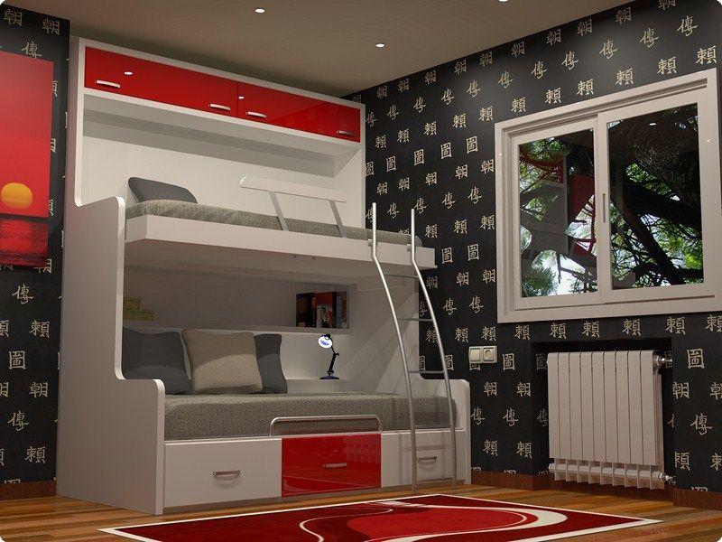 Habitaciones juveniles dormitorio juvenil camas abatible for Dormitorio juvenil cama alta