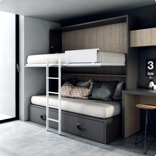 Habitaciones juveniles dormitorio juvenil camas abatible for Cama nido abatible
