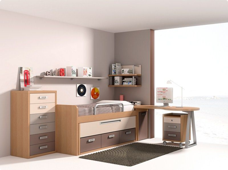 Habitaciones juveniles dormitorio juvenil camas abatible - Muebles habitaciones juveniles ...
