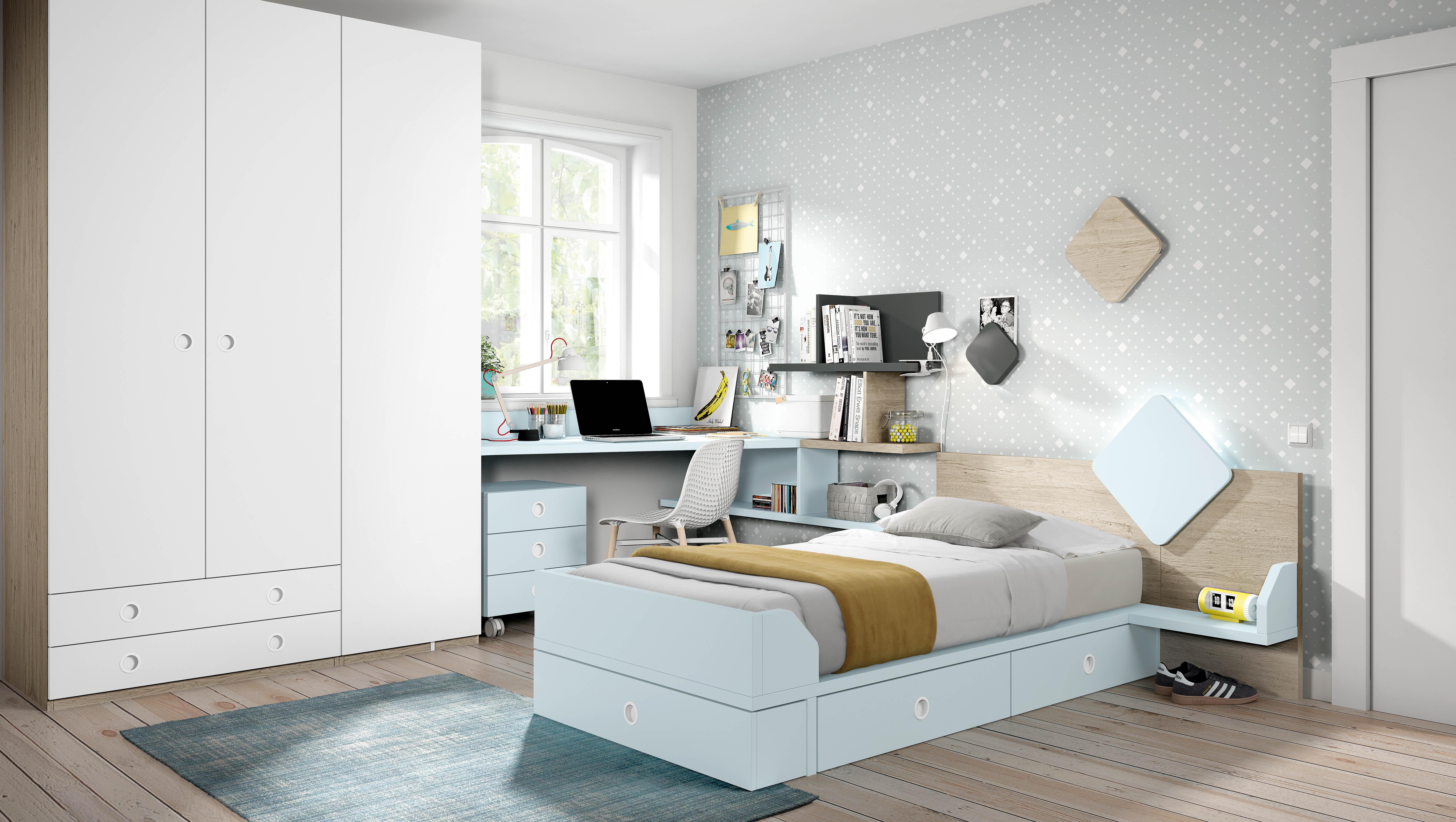 Muebles juveniles camas individuales dormitorios juveniles for Muebles juveniles