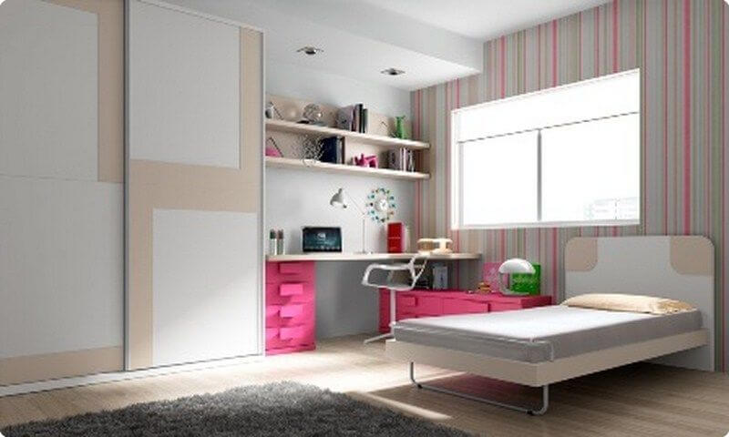 Literas horizontales con escritorio habitaciones - Cama individual juvenil ...
