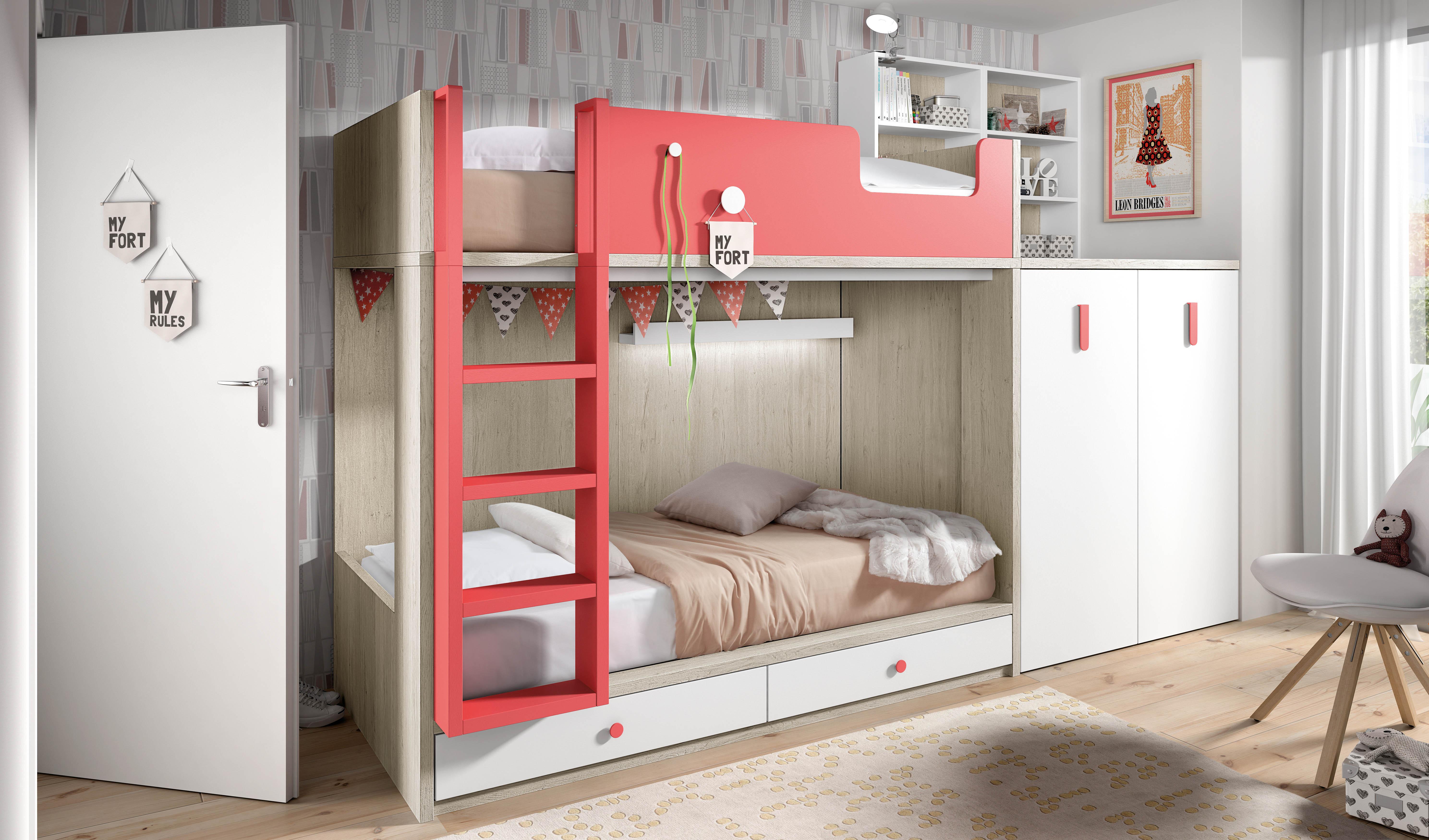 Muebles juveniles cama tren dormitorios juveniles cama for Habitacion juvenil 2 camas