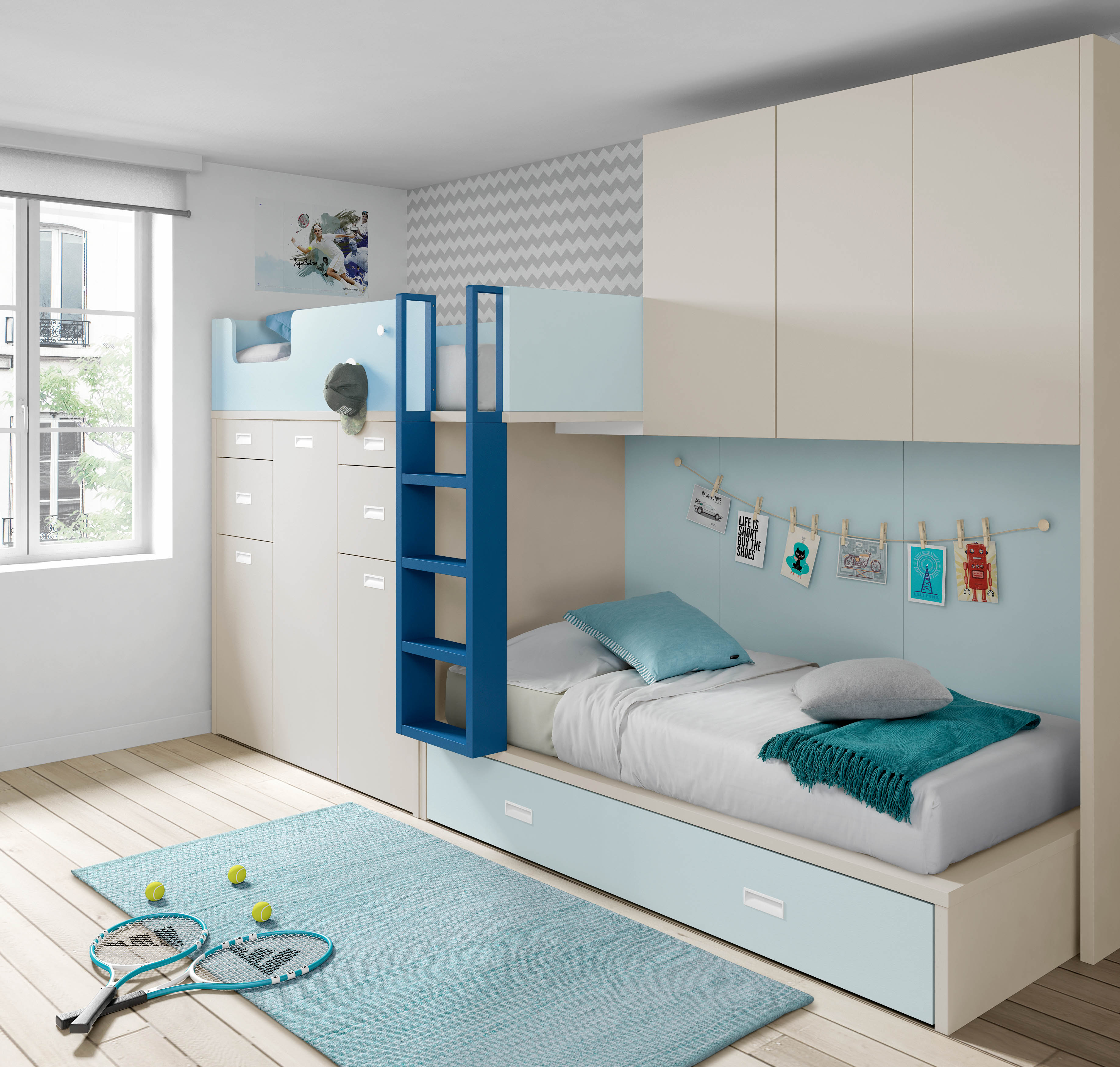 Muebles juveniles cama tren dormitorios juveniles cama for Mueble puente juvenil