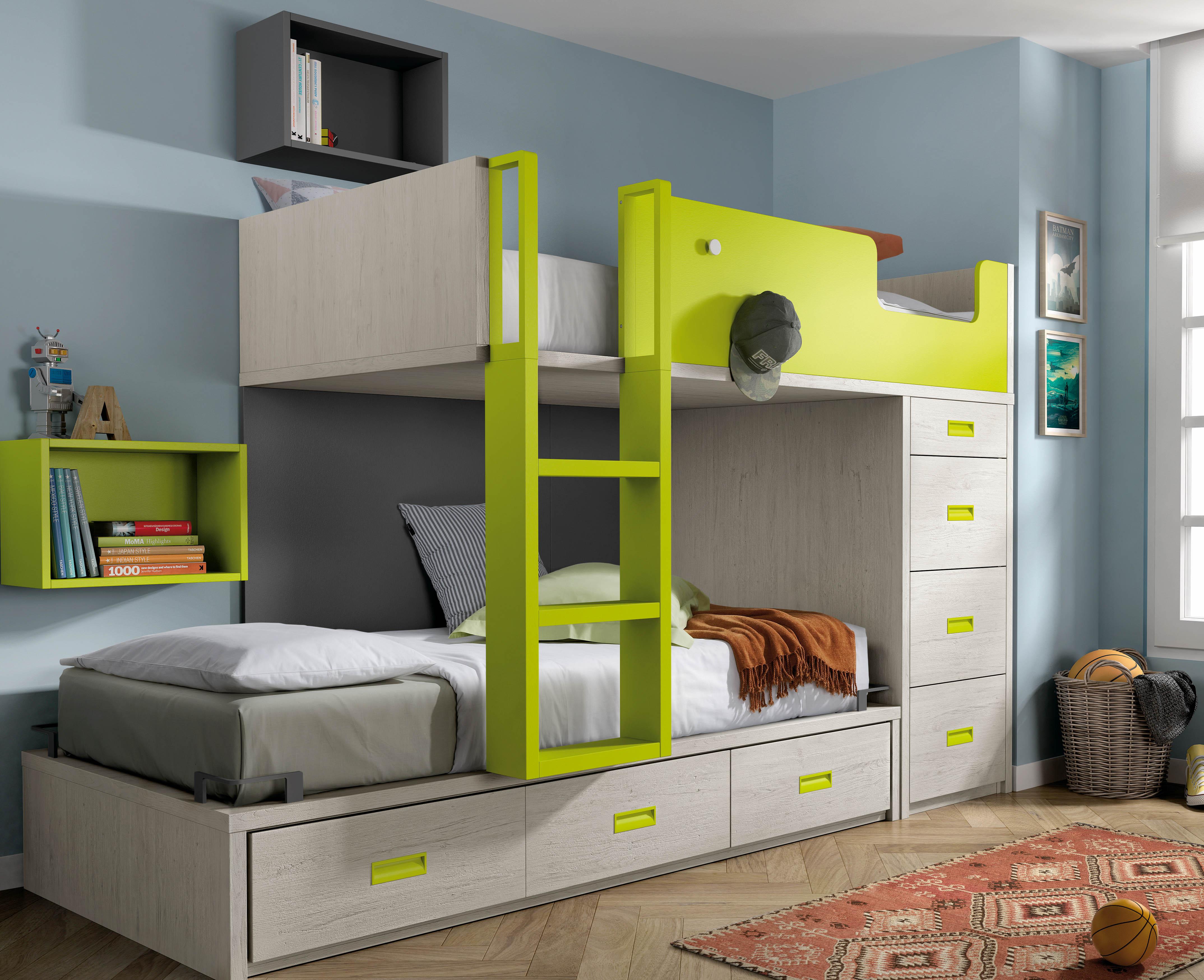 Muebles juveniles cama tren dormitorios juveniles cama for Camas en altura juveniles
