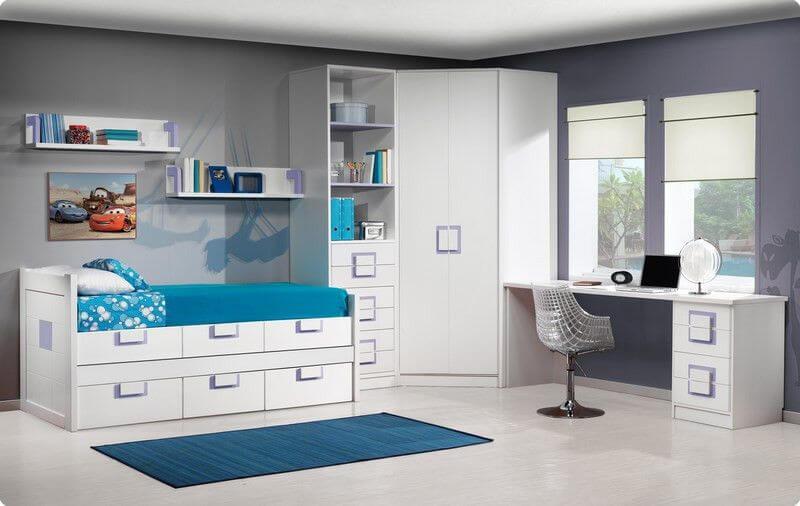 Cama compacta lacada dormitorios juveniles cama nido for Muebles cama nido juvenil