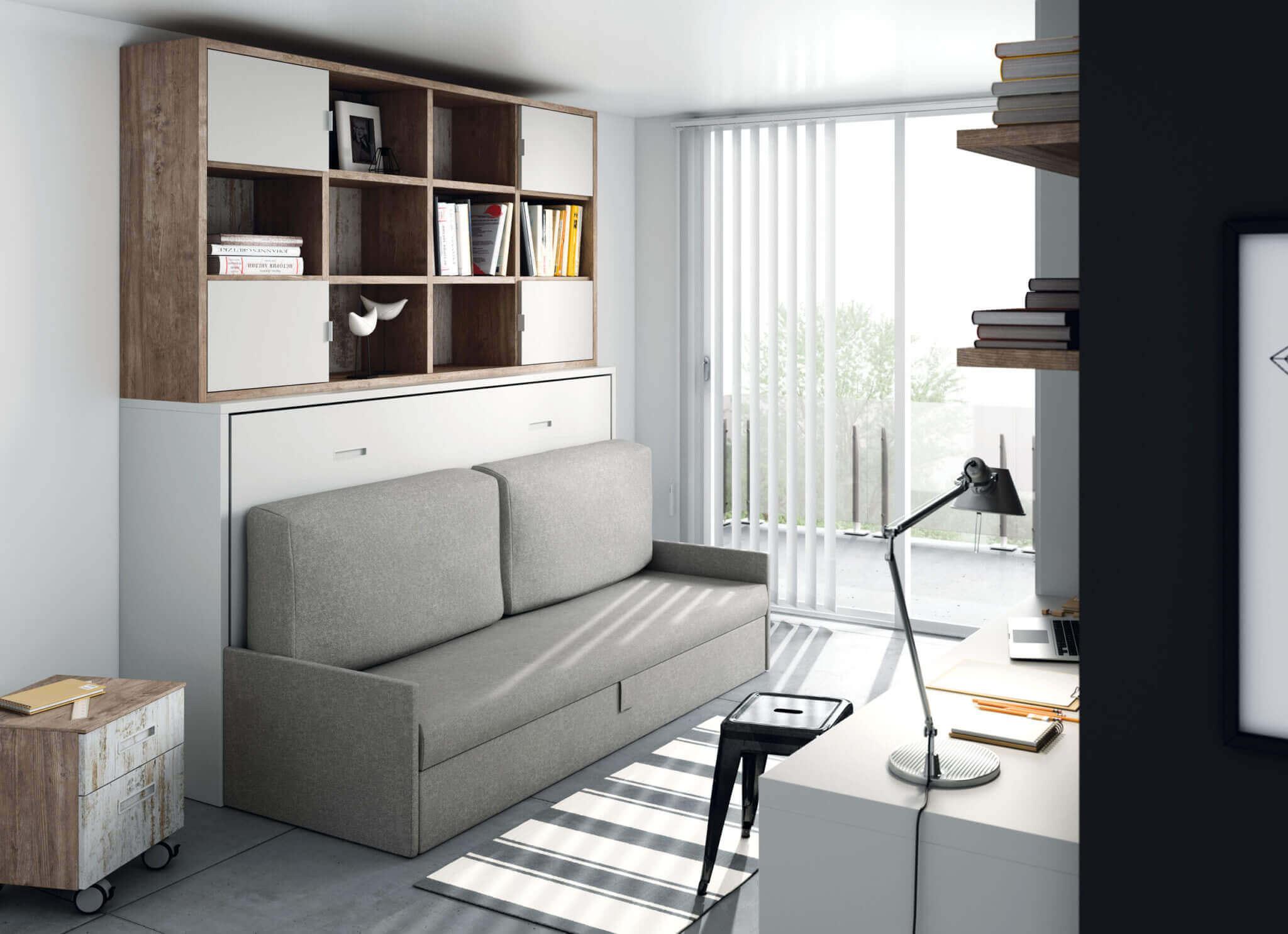 Camas abatibles horizontales con sofa camas abatibles for Sofa cama para habitacion juvenil