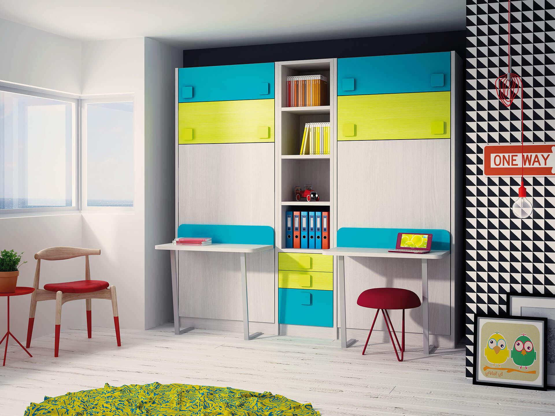 Literas abatibles verticales con escritorio literas - Muebles literas abatibles ...