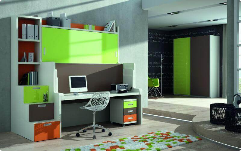 Literas horizontales con escritorio habitaciones for Camas juveniles con escritorio incorporado