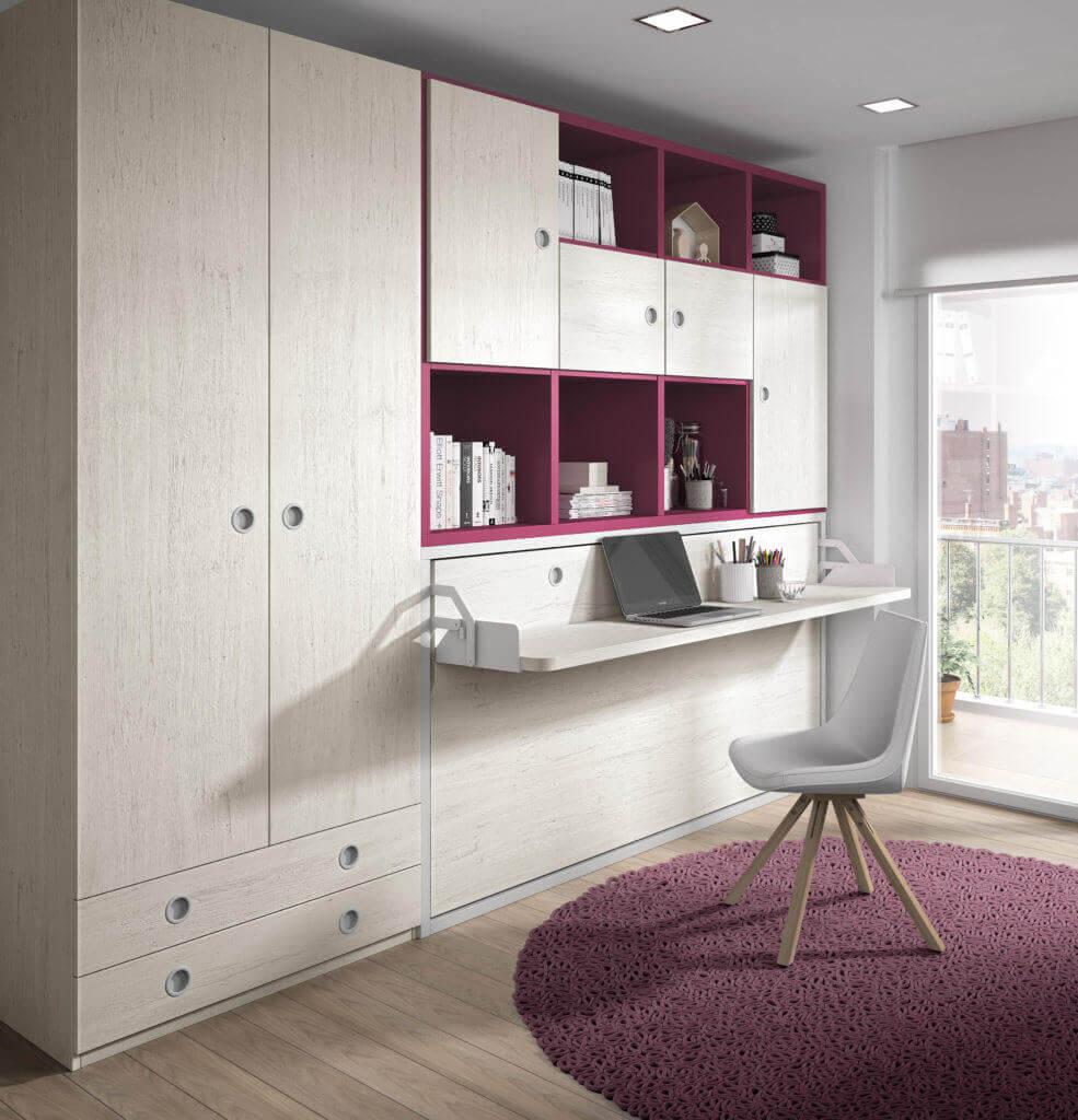 Camas abatibles horizontales con escritorio sof cama for Sofa cama para habitacion juvenil
