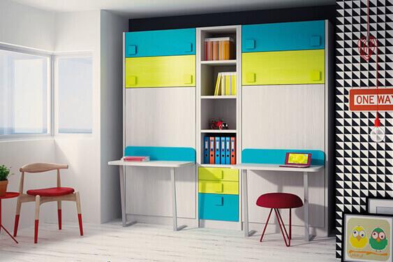 Habitaciones juveniles dormitorio juvenil camas abatible - Literas juveniles con escritorio ...