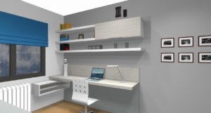 En este dibujo de la habitación con despacho vemos la zona de trabajo